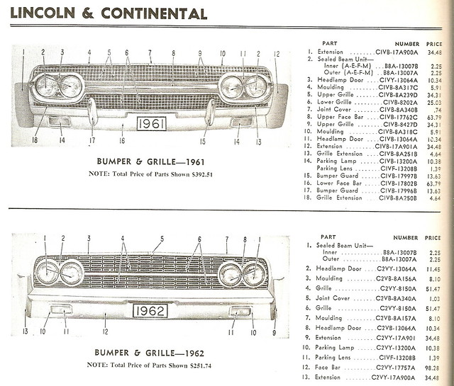 lincoln continental 1961 1962 bumper grill parts list flickr photo sharing. Black Bedroom Furniture Sets. Home Design Ideas