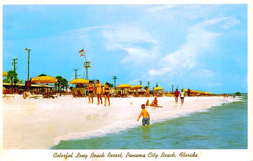 people beach florida postcard 1960s panamacity