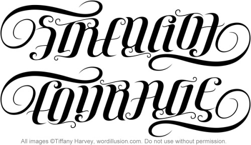 Strength Courage Ambigram Tattoo Designs