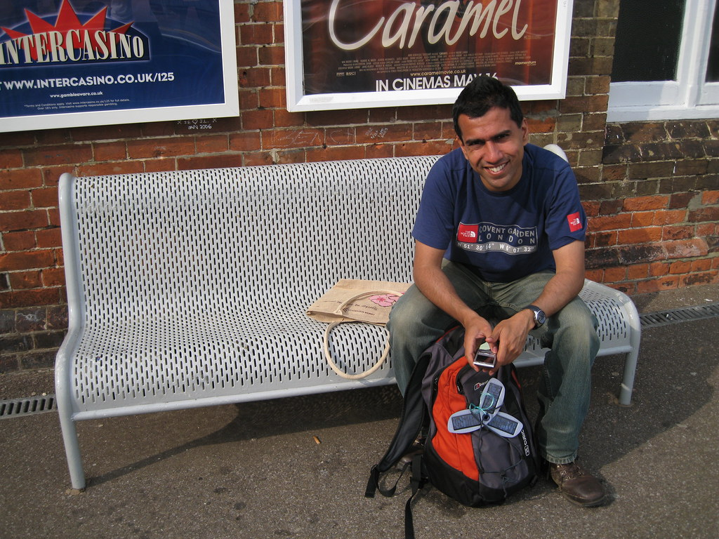 Redhill Station Waiting for the London Bridge train at Redhill Station. Solio charger visible on my rucksack.