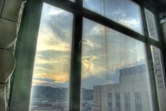 dirty window sunset