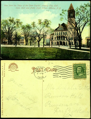 City Hall, State Hall, High School postcard