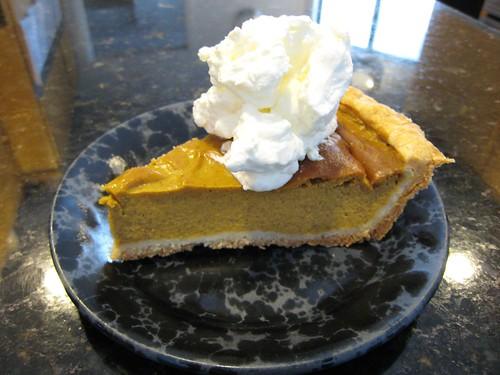 pumpkin pie, whipped cream, black plate, ho… IMG_7216