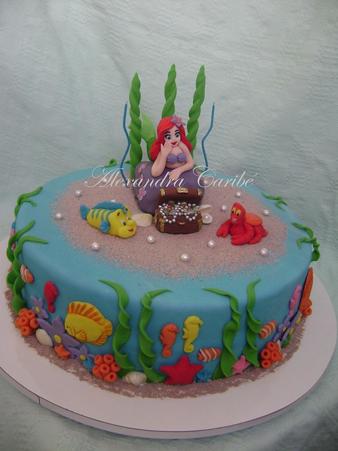 Bolo ariel pequena sereia com ba cake ariel little for Ariel cake decoration