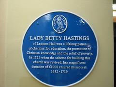 Photo of Elizabeth Hastings blue plaque