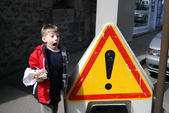 Fletcher is surprised by sign