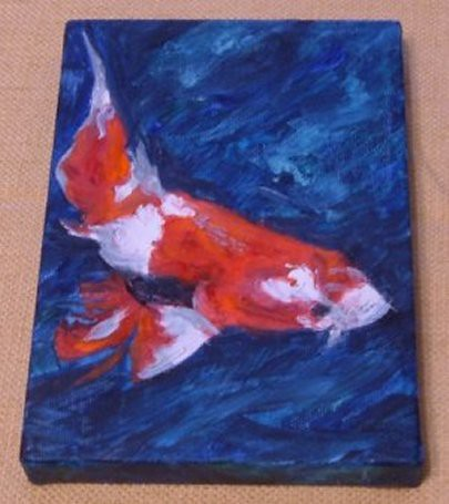 Red and white koi fish 5x7 flickr photo sharing for Red and white koi fish