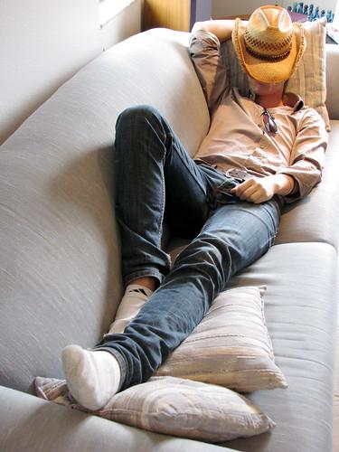Photographer cowboy naps