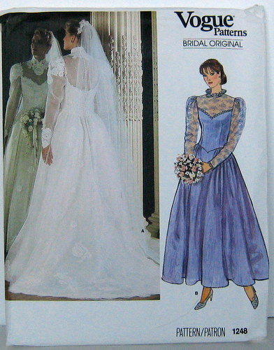 Vogue 1248 Sewing Pattern 80\'s Wedding Bridal Dress, Bridesmaid ...