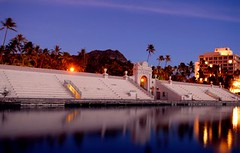 Twilight falls on the Waikiki War Memorial Natatorium