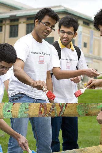 ECE Students add their mark to the fence.
