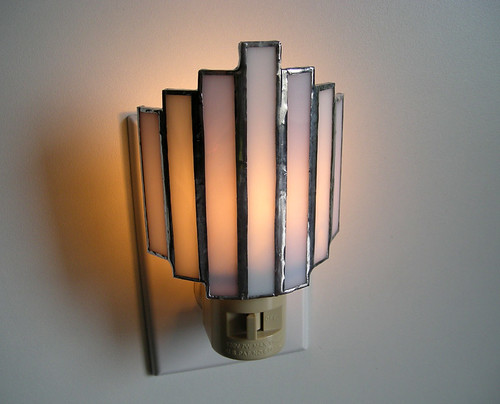 Art Deco Night Light in Lavender and White Stained Glass