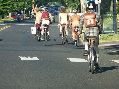 Greg Fischer's photo of naked bikers in Portland.