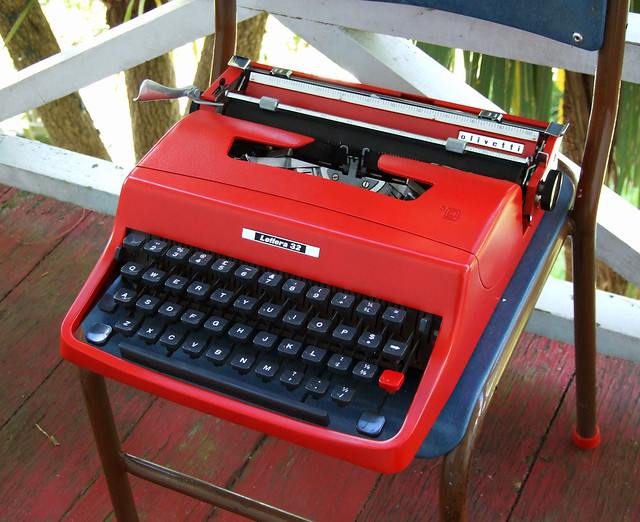 1963 Olivetti Lettera 32 typewriter, NOW IN RED!