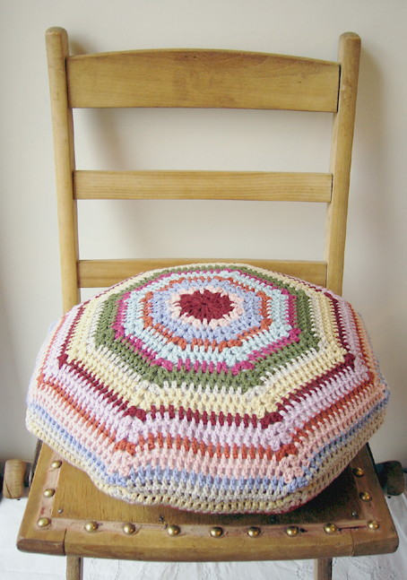 Molly crochet cushion cover by Emma Lamb as featured on sfgirlbybay