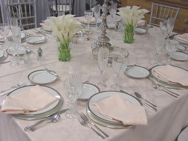 Calla White Centerpieces Table Setting Wedding Reception