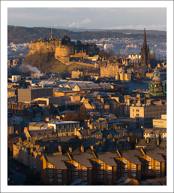 Edinburgh castle in sunrise