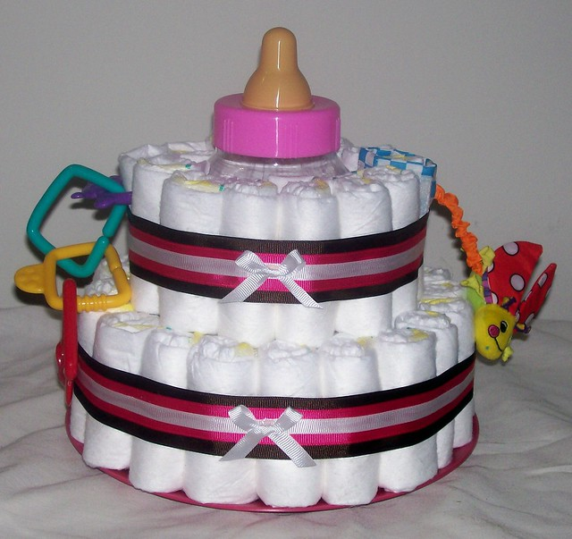 Diaper Cake Decor : Baby Girl Diaper Cake with decorations Flickr - Photo Sharing!