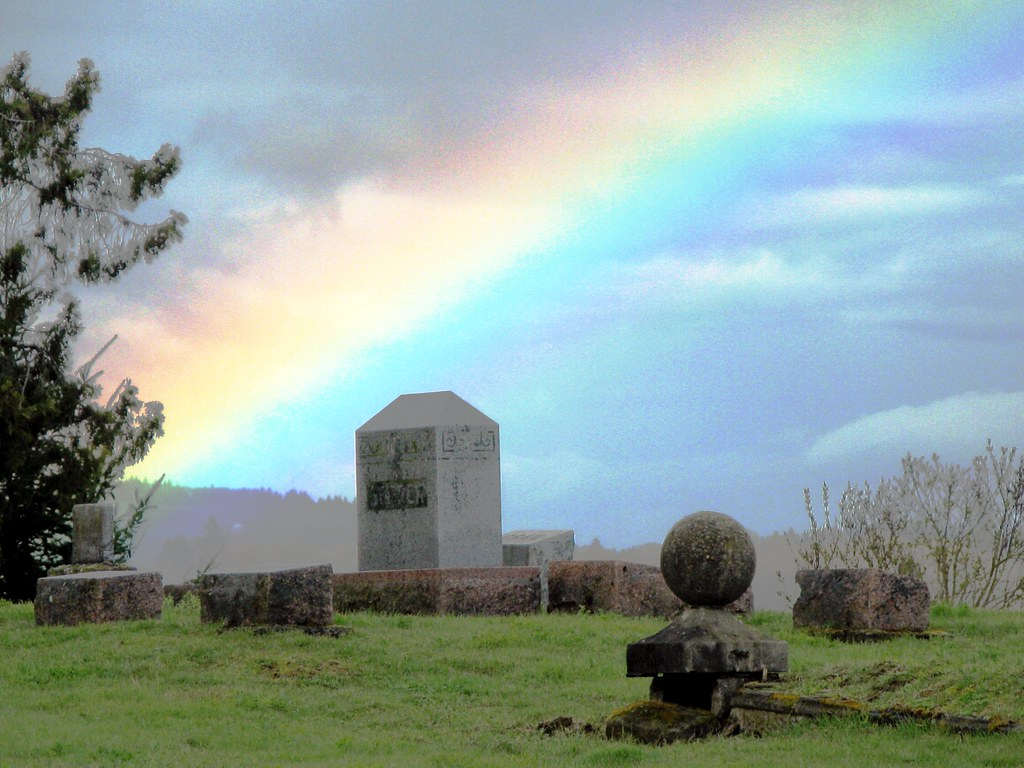 Rainbow over Mount Union Cemetery this Afternoon - You Haven't Lived until You have been Locked *IN* a Cemetery