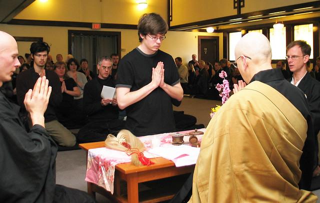 """Precept ceremony at Dharma Rain Zen Center in Portland Oregon"""