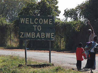 Welcome to Zimbabwe road sign