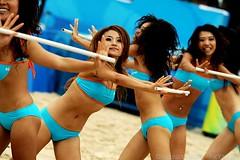volleyball(0.0), team sport(0.0), cheerleading(0.0), beach volleyball(0.0), abdomen(1.0), sports(1.0), leg(1.0), bikini(1.0),