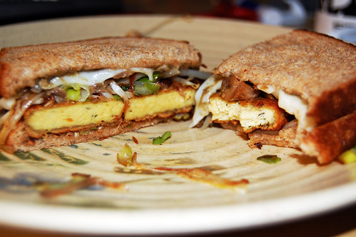 vegan tofu patty sandwich.