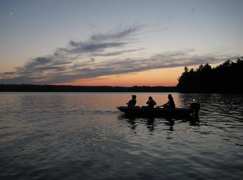 sunset moon lake silhouette night boat maine fourthofjuly backlighting threemilepond thibo southchinamaine campthibodeau chinalakes