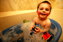 trying out the new thomas the tank engine bath toys …