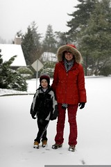 nick and rachel embarking on a snowy walk to school …