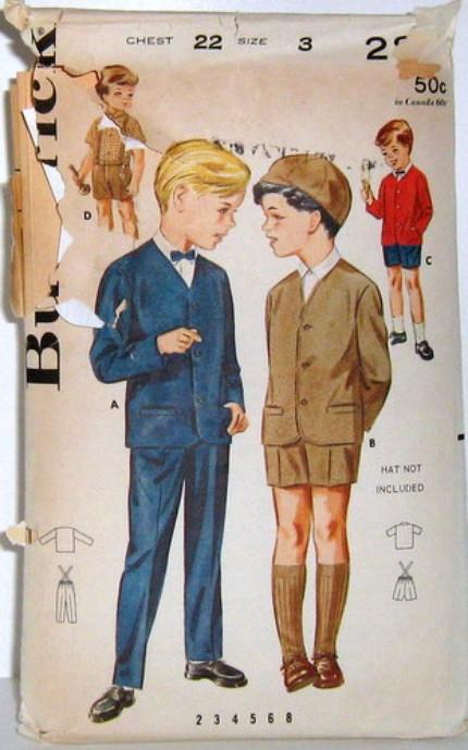 Vintage Butterick Pattern 2831 Boys 60s Suit Jacket Shorts Pants Suspenders Outfit Size 3