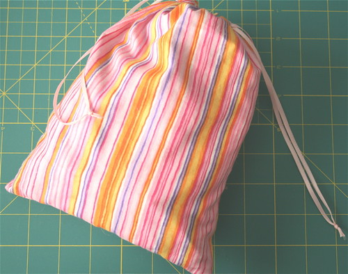 Pink Striped - Knit/Crochet Project Ditty Bag