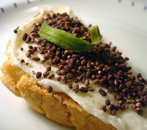 Caviar on toast...made of cake and sprinkles!