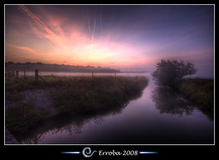 Misty sunrise near a small river and tree, Mechelen, Belgium :: HDR