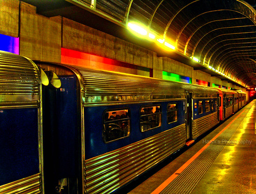 blue roof newzealand colors lines station night lights long colours nightshot tracks trails vivid trains auckland trainstation rails britomart haani