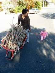 Eve and Sunshine fetching firewood