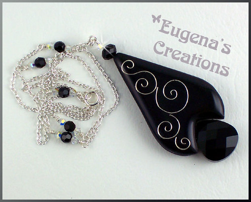 Black Magic - Faux Cloisonne Necklace, Polymer Clay and Resin