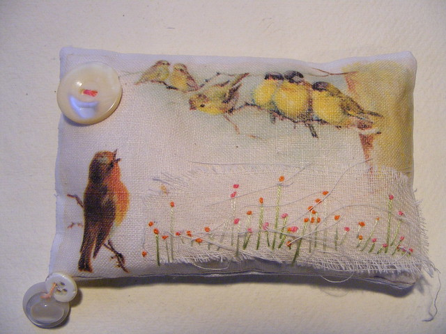 Collaged Embroidered Pin Cushion ~ Robin sings