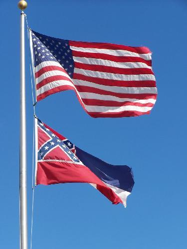 United States and Mississippi Flags
