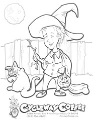 A Halloween Witch (& Preening Cat) Coloring Page