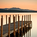 Weirs Beach Dock at Sunrise #2 by AaronBBrown