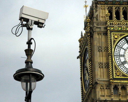 Mounted CCTV near the Houses of Parliament