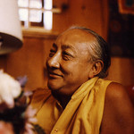Dilgo Khyentse Rinpoche reflecting with a smile, at the Sakya Center དིལ་མགོ་མཁྱེན་བརྩེ་, Seattle, Washington, USA