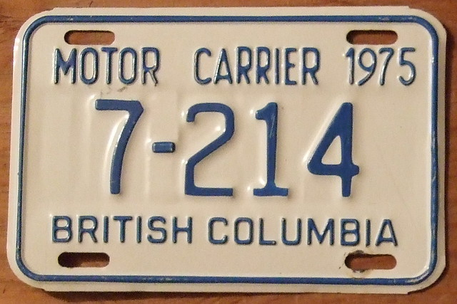 British Columbia 1975 Motor Carrier Plate Flickr Photo Sharing