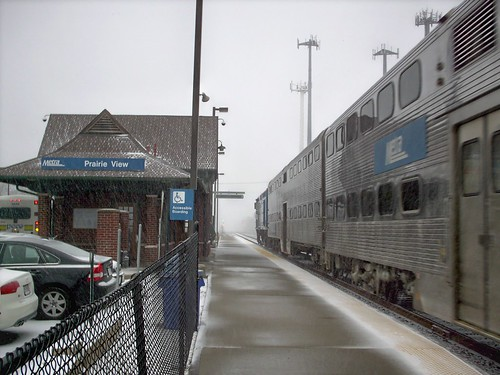 Northbound Metra commuter local arriving at the Prairie View commuter rail station. Lincolnshire Illinois. Early March 2008. by Eddie from Chicago