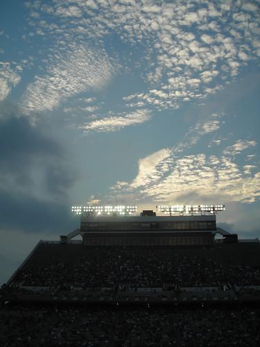 light sunset sky game college sports weather clouds lights football university stadium gameday monroe ulm 2007 malone universityoflouisianaatmonroe