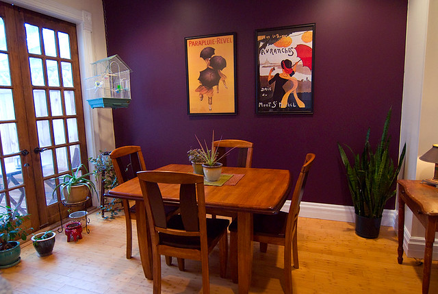 Purple dining room from gray to yellow to this i for Dining room ideas purple