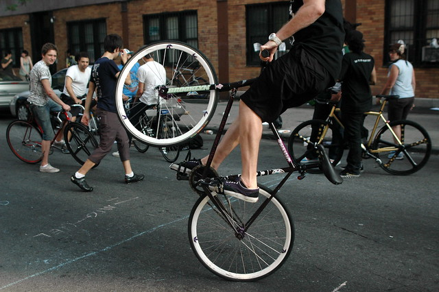 biking nyc wheelie
