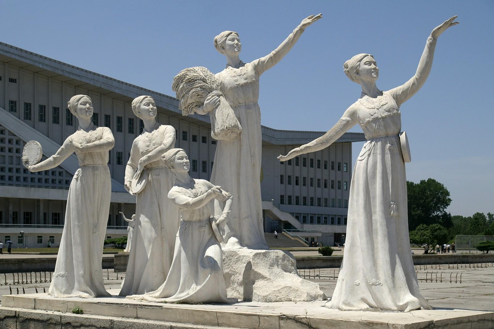 Sculptures in Chollima Street, Pyongyang