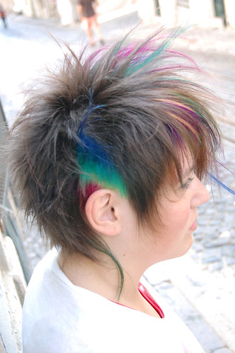 haircut struwel with rainbow colors
